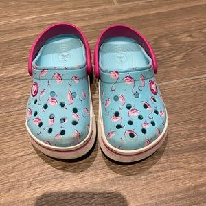 Crocs girl blue with flamingo size 8-9